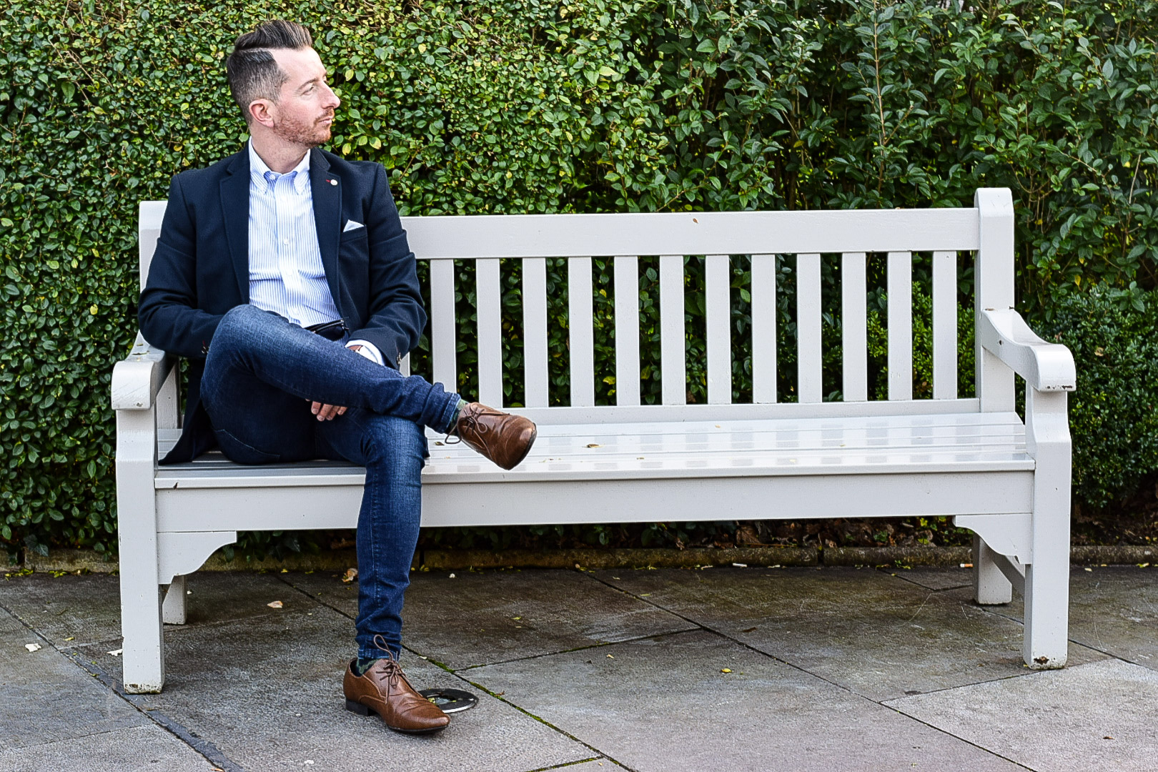 Navy Blazer, Pinstripe Shirt and Jeans