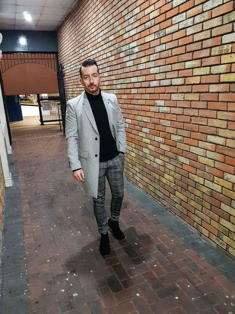 Grey Overcoat Tartan Trousers