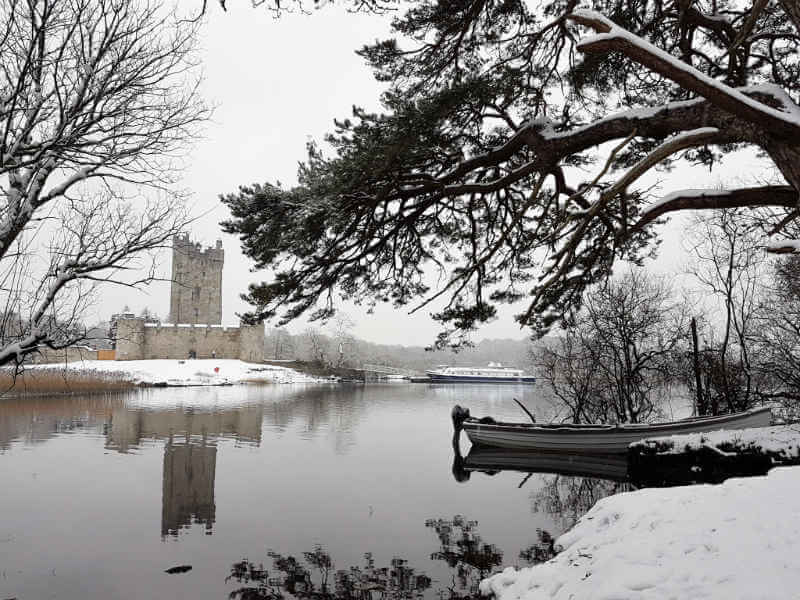 Ross Castle Killarney in the snow
