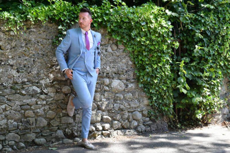 Summer Suit Linen Suit resting against the wall