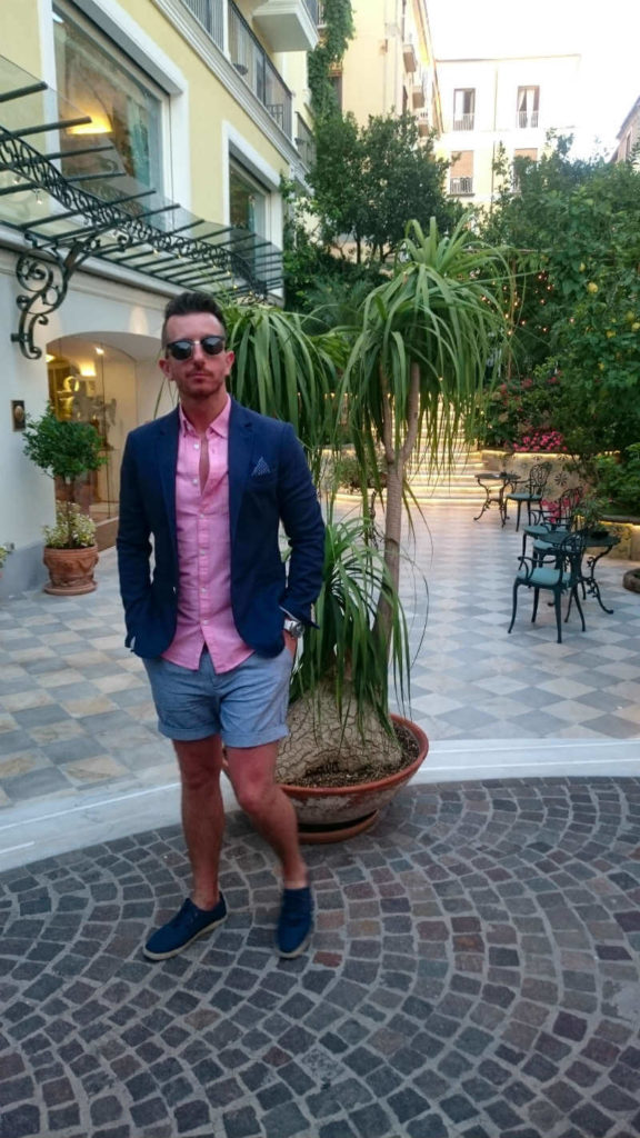 Summer style pink oxford shirt and blue blazer
