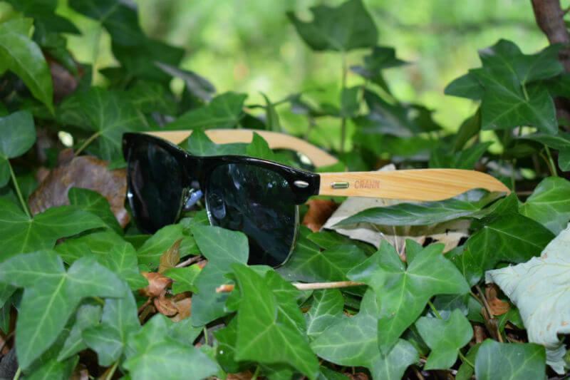 Crann Wooden Sunglasses in leaves