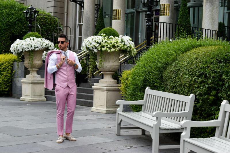 Looking suave in a pink suit